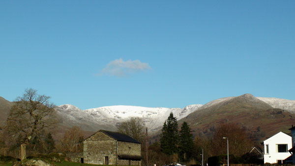 Snow-capped mountains north of Ambleside