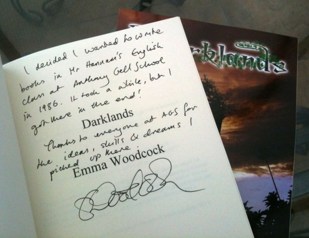 Signed copy of Darklands going to Anthony Gell School